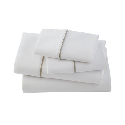 Verona Bedding 300 Thread Count Cotton Sheet Set Color: White/Linen, Size: Queen