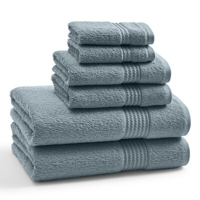 Long Staple Twist Cotton Combed 6 Piece Towel Set Color: Bluestone