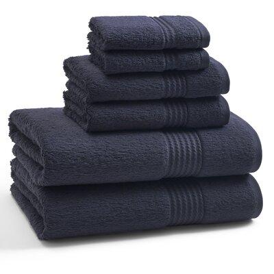 Long Staple Twist Cotton Combed 6 Piece Towel Set Color: Eclipse Blue