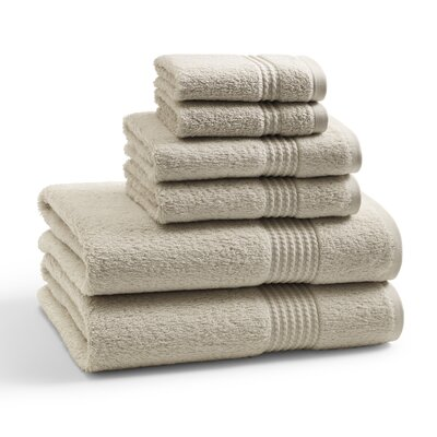 Long Staple Twist Cotton Combed 6 Piece Towel Set Color: Birch