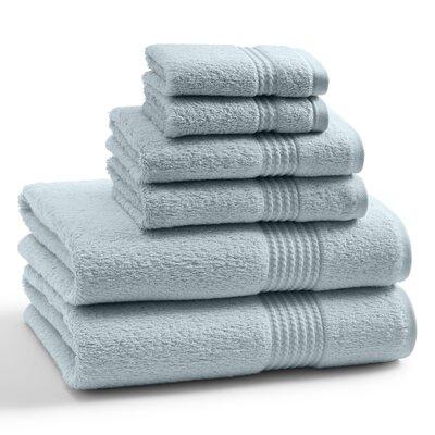 Long Staple Twist Cotton Combed 6 Piece Towel Set Color: Pearl Blue