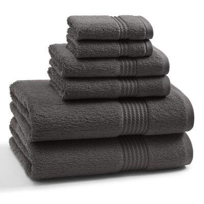 Long Staple Twist Cotton Combed 6 Piece Towel Set Color: Shadow Grey