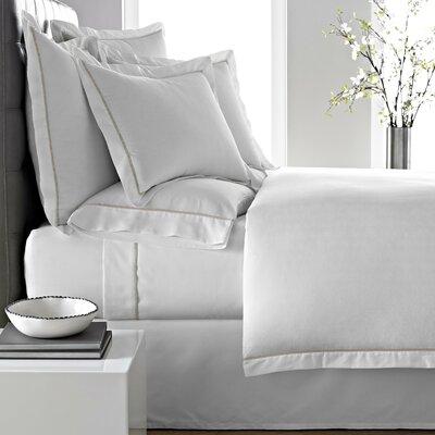 Verona Duvet Cover Color: White/Linen, Size: Queen