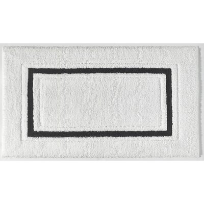 Framed Stripe Bath Rug Color: White/Black, Size: 20 W x 30 L
