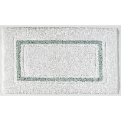 Framed Stripe Bath Rug Color: White/Seafoam, Size: 24 W x 40 L