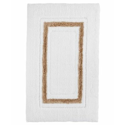 Framed Stripe Bath Rug Color: White/Bisque, Size: 24 W x 40 L