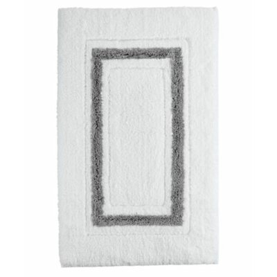 Framed Stripe Bath Rug Color: White/Charcoal, Size: 24 W x 40 L
