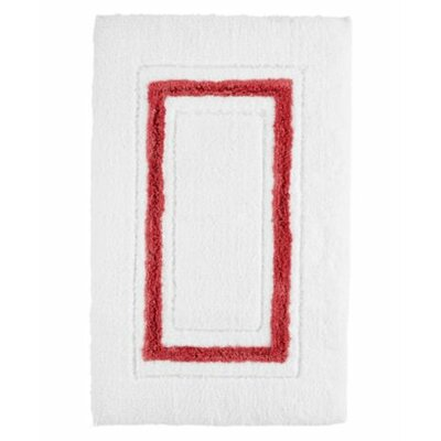 Framed Stripe Bath Rug Color: White/Paprika, Size: 20 W x 30 L