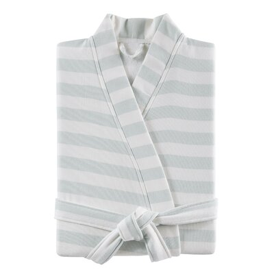 Fouta Striped Bathrobe Color: Blue, Size: Large/Extra Large