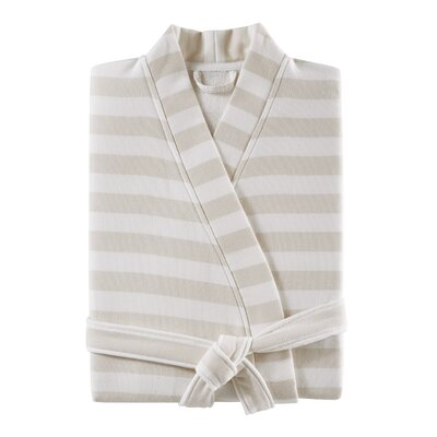Fouta Striped Bathrobe Color: Taupe, Size: Large/Extra Large