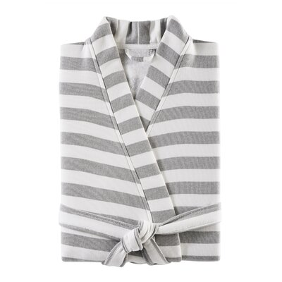 Fouta Striped Bathrobe Color: Shadow Gray, Size: Large/Extra Large