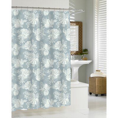 Shells - Cortina Cotton Shower Curtain Color: Seamist