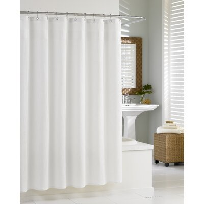 Waffle Cotton Shower Curtain Color: White