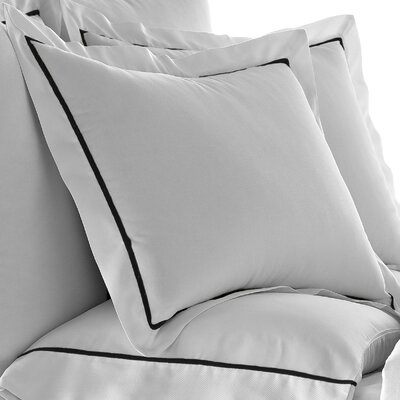 Verona Bedding Cotton Pillowcase Color: White/Black, Size: Queen