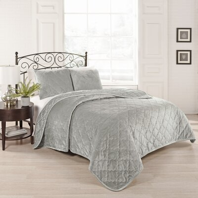 Collette 3 Piece Coverlet Set Size: Queen, Color: Silver