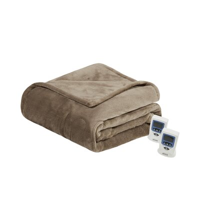 Heated Plush Blanket Size: King, Color: Mink