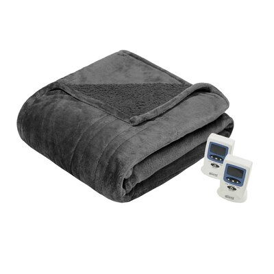 Beautyrest Solid Microlight/Berber Heated Blanket Size: Twin, Color: Gray
