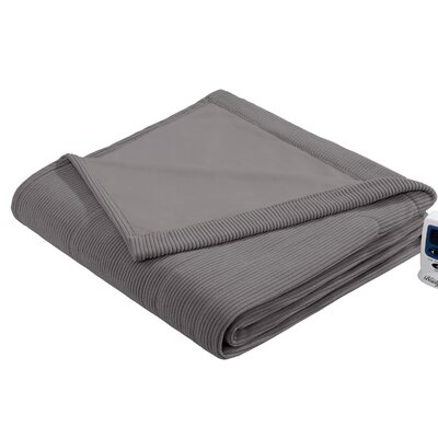 Micro Fleece Heated Blanket Size: Full, Color: Grey