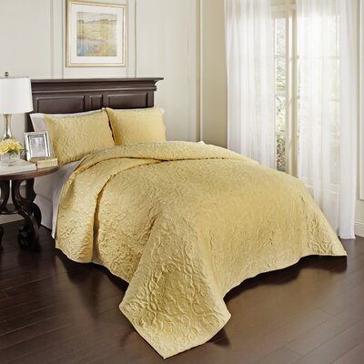 Valentre 3 Piece Coverlet Set Size: King, Color: Light Gold
