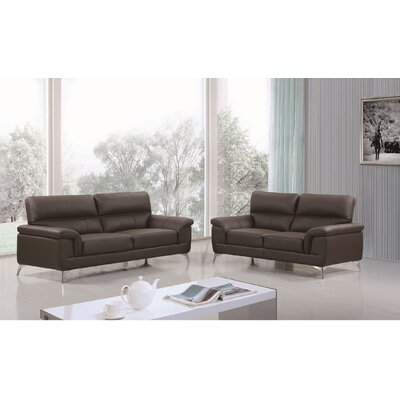 Eldred Leather 2 Piece Living Room Set
