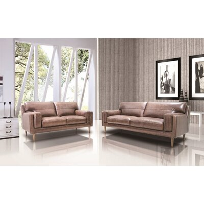 Stokes 2 Piece Full Top Grain Leather Sofa Set