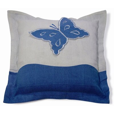 Embroidery Butterfly Cotton Throw Pillow Color: Blue