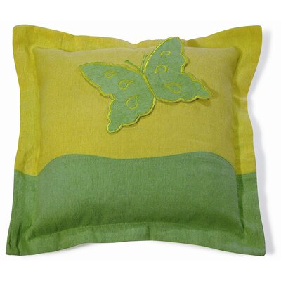 Embroidery Butterfly Cotton Throw Pillow Color: Green