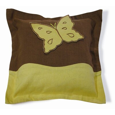 Embroidery Butterfly Cotton Throw Pillow Color: Yellow