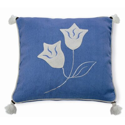 Embroidery Lily Cotton Throw Pillow Color: Blue