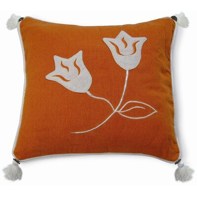 Embroidery Lily Cotton Throw Pillow Color: Orange