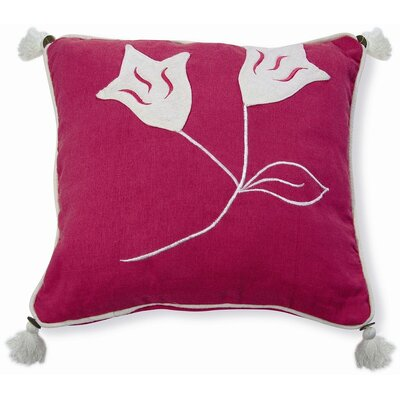 Embroidery Lily Cotton Throw Pillow Color: Pink