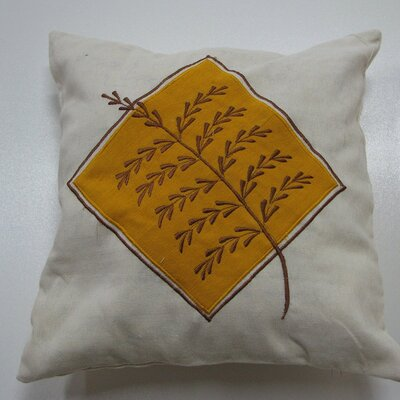 Embroidery Grain Cotton Throw Pillow Color: Yellow
