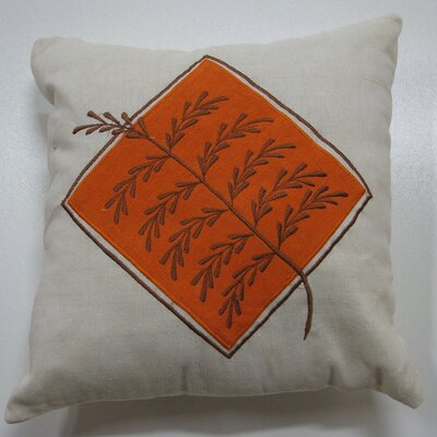 Embroidery Grain Cotton Throw Pillow Color: Orange
