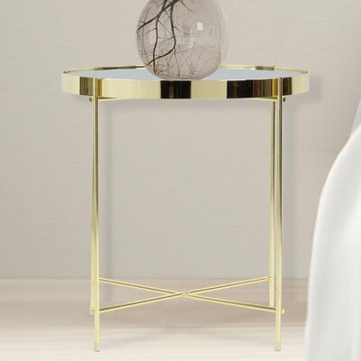 Farina Round End Table Color: Gold/Clear