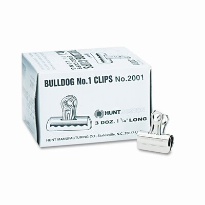 Bulldog Clips, Steel, 7/16 Capacity, 1-1/4w, Nickel-Plated, 36/box