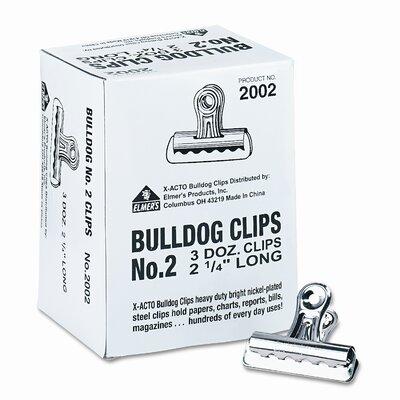 Bulldog Clips, Steel, 1/2 Capacity, 2-1/4w, Nickel-Plated, 36/box