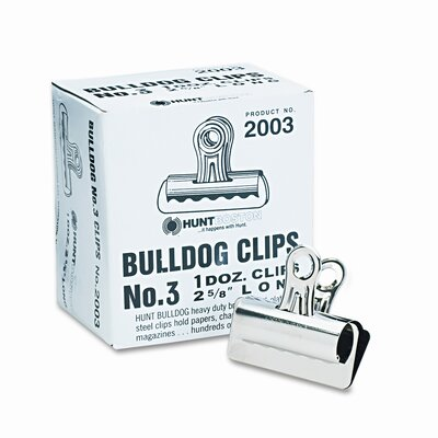 Bulldog Clips, Steel, 7/8 Capacity, 2-5/8w, Nickel-Plated, 12/box