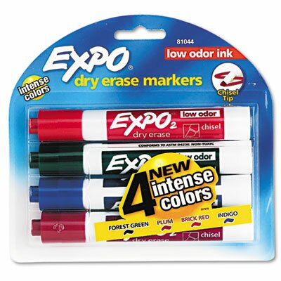 Low Odour Dry Erase Markers, Chisel Tip, Assorted, 4/Set (Set of 2) SAN81044
