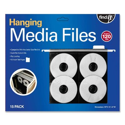 FindIt Hanging CD Pages, 11 1/4 x 13 x 3/4, Black