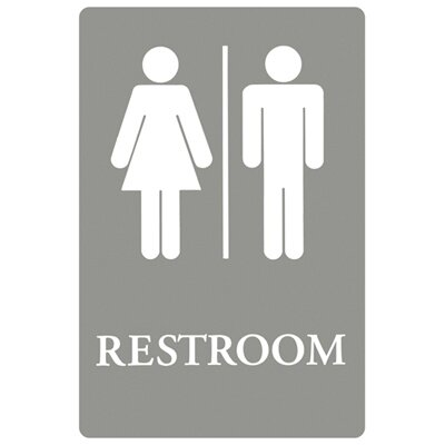 Restroom Symbol Tactile Graphic Men / Women ADA Sign in Gray and White