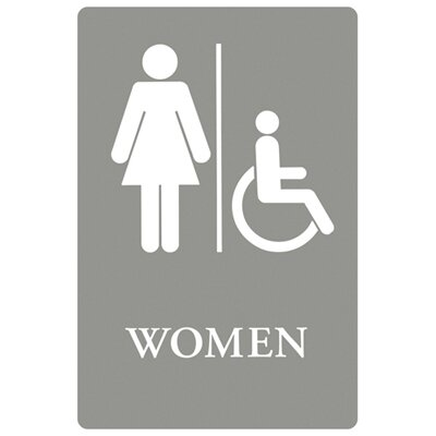 Women Restroom Wheelchair Accessible Symbol ADA Sign in Gray and White