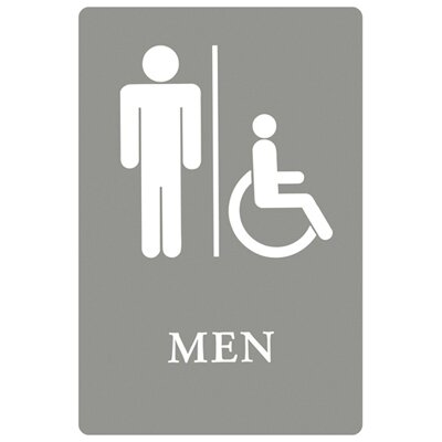 Men Restroom Wheelchair Accessible Symbol ADA Sign in Gray and White