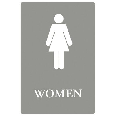Women Restroom with Tactile Graphic ADA Sign in Gray and White