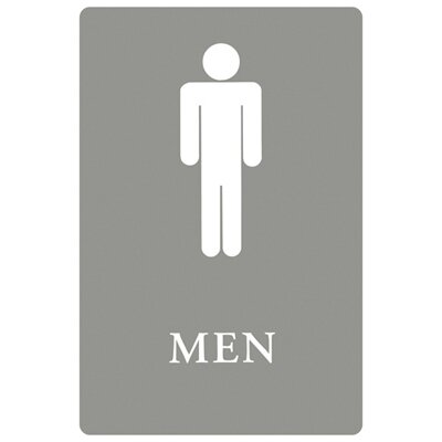 Men Restroom with Tactile Graphic ADA Sign in Gray and White