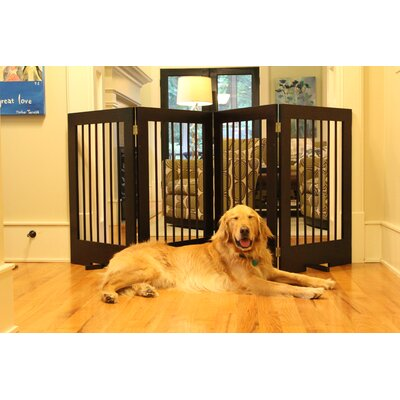 4 Panel Tall Pet Gate Finish: Walnut