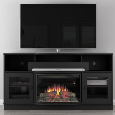 Contemporary 64 TV Stand with Fireplace