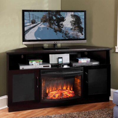 1 Cheap 61 TV Stand With Curved Electric Fireplace Low