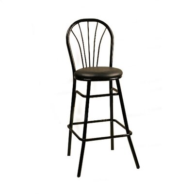 30 inch Bar Stool Frame Finish: Chrome, Upholstery: New Soho: Claret