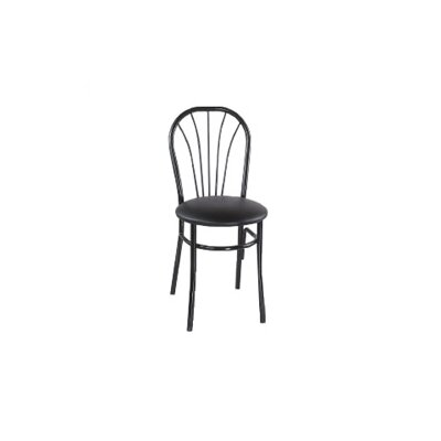 Cafe Side Chair (Set of 2) Finish: Black, Upholstery: New Soho: Ivory