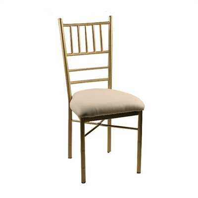 Metal Ballroom Side Chair (Set of 2) Finish: Gold, Upholstery: New Soho: Blue Ridge